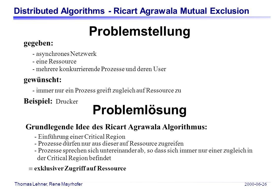 Distributed Algorithms - Ricart Agrawala Mutual Exclusion 2000-06-26 Thomas Lehner, Rene Mayrhofer Problemstellung gegeben: - asynchrones Netzwerk - eine Ressource - mehrere konkurrierende Prozesse und deren User gewünscht: - immer nur ein Prozess greift zugleich auf Ressource zu Beispiel: Drucker Grundlegende Idee des Ricart Agrawala Algorithmus: - Einführung einer Critical Region - Prozesse dürfen nur aus dieser auf Ressource zugreifen - Prozesse sprechen sich untereinander ab, so dass sich immer nur einer zugleich in der Critical Region befindet  exklusiver Zugriff auf Ressource Problemlösung