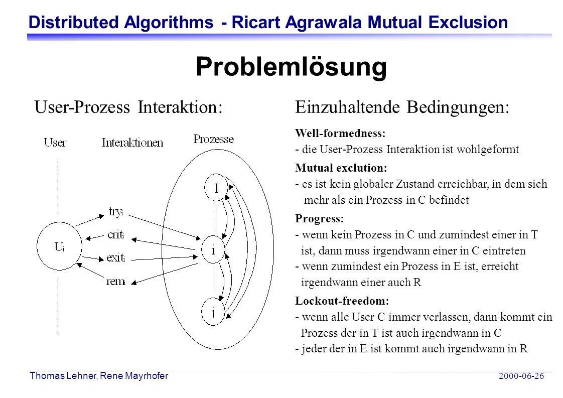 Distributed Algorithms - Ricart Agrawala Mutual Exclusion 2000-06-26 Thomas Lehner, Rene Mayrhofer Der Ricart AgrawalaME Algorithmus - Jeder Prozess besitzt eine logische Uhr.