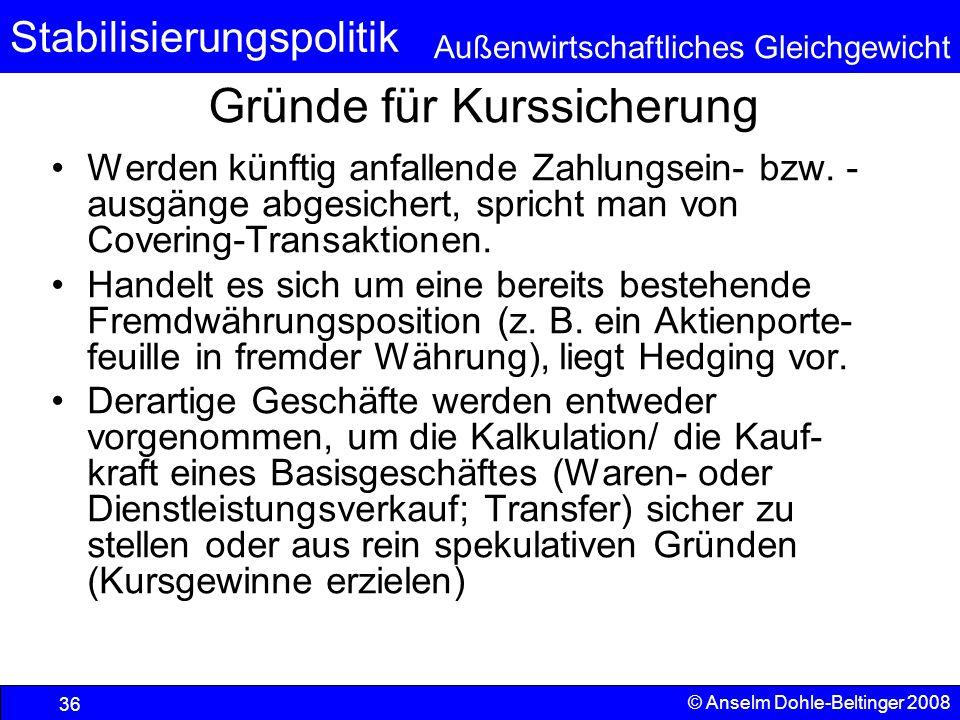 Stabilisierungspolitik Außenwirtschaftliches Gleichgewicht © Anselm Dohle-Beltinger 2008 36 Gründe für Kurssicherung Werden künftig anfallende Zahlungsein- bzw.