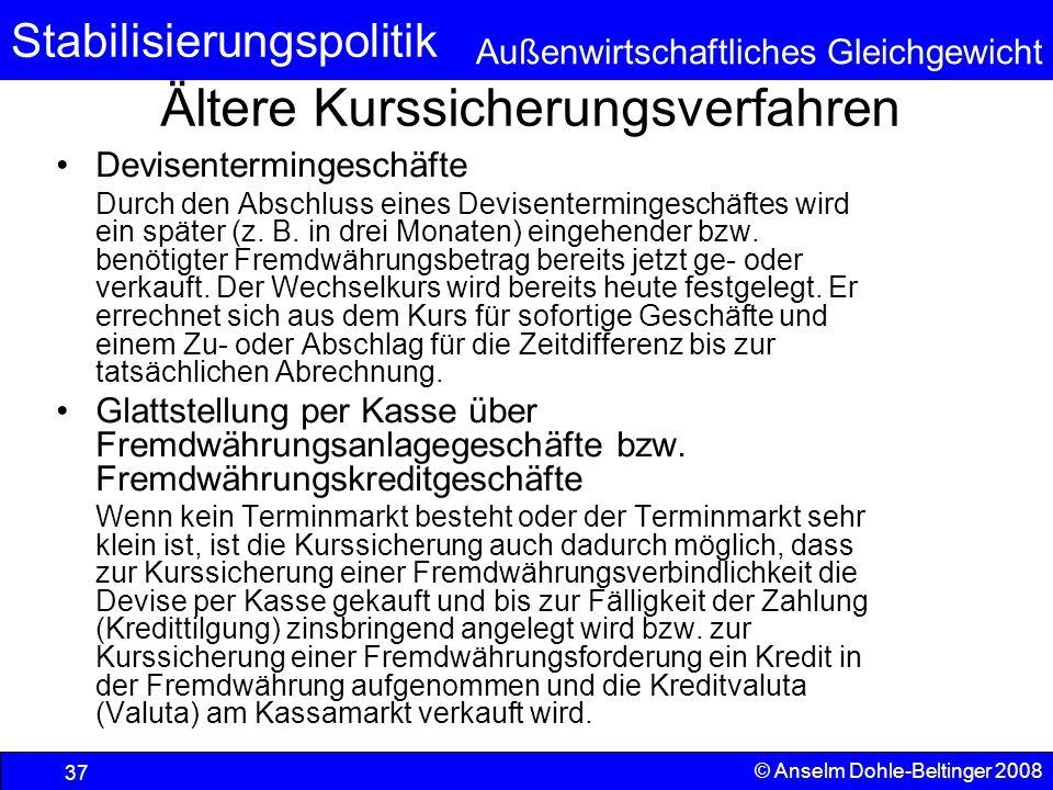 Stabilisierungspolitik Außenwirtschaftliches Gleichgewicht © Anselm Dohle-Beltinger 2008 37 Ältere Kurssicherungsverfahren Devisentermingeschäfte Durch den Abschluss eines Devisentermingeschäftes wird ein später (z.