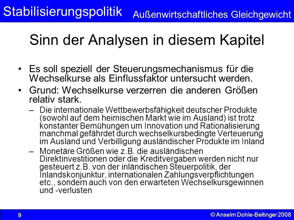 Stabilisierungspolitik Außenwirtschaftliches Gleichgewicht © Anselm Dohle-Beltinger 2008 9 Sinn der Analysen in diesem Kapitel Es soll speziell der Steuerungsmechanismus für die Wechselkurse als Einflussfaktor untersucht werden.