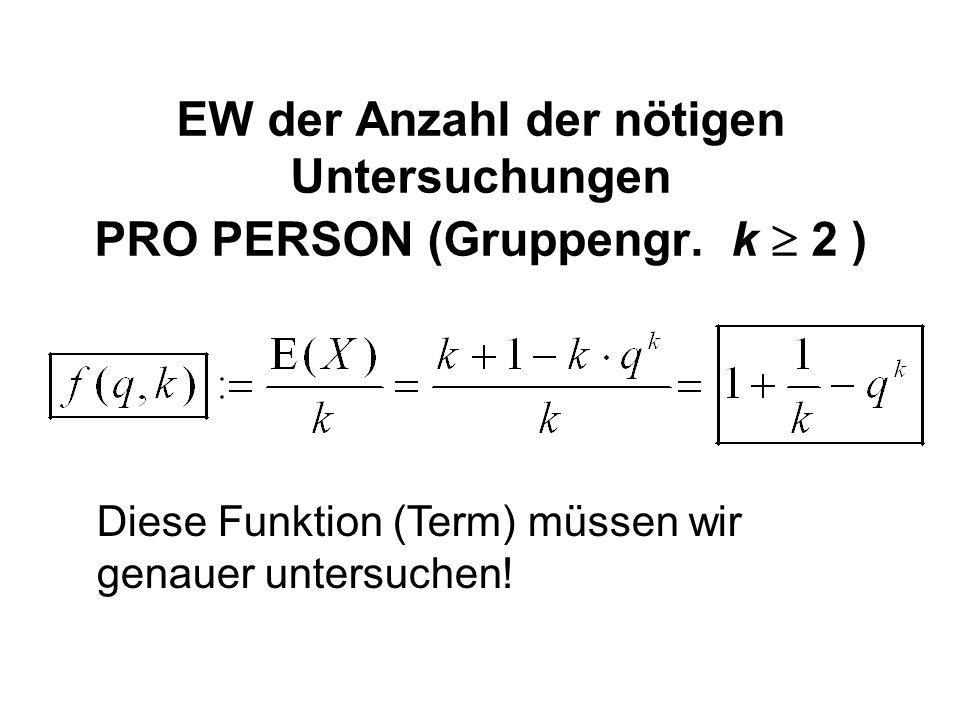 EW der Anzahl der nötigen Untersuchungen PRO PERSON (Gruppengr. k  2 ) Diese Funktion (Term) müssen wir genauer untersuchen!