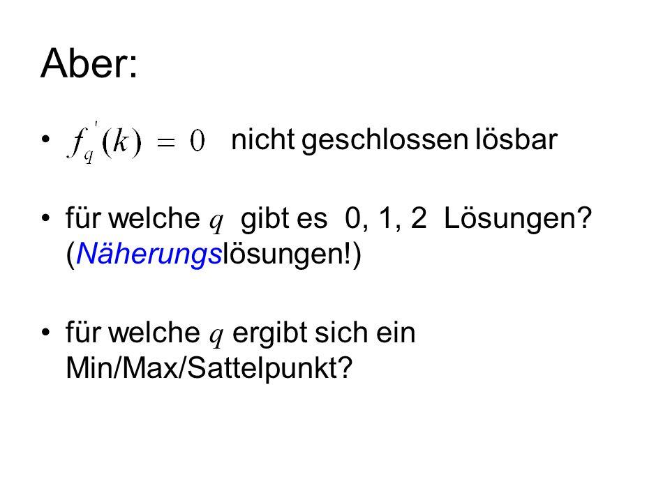 Aber: nicht geschlossen lösbar für welche q gibt es 0, 1, 2 Lösungen? (Näherungslösungen!) für welche q ergibt sich ein Min/Max/Sattelpunkt?