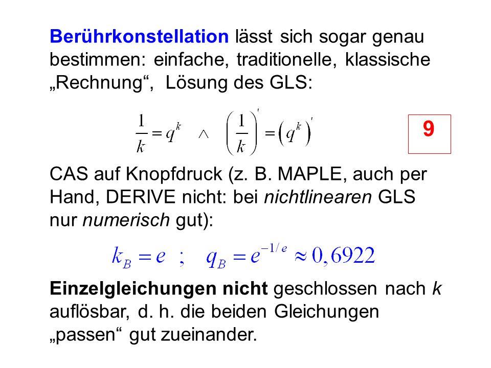 """Berührkonstellation lässt sich sogar genau bestimmen: einfache, traditionelle, klassische """"Rechnung"""", Lösung des GLS: CAS auf Knopfdruck (z. B. MAPLE,"""