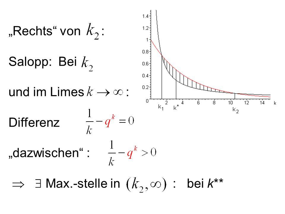 """""""Rechts"""" von : Salopp: Bei und im Limes : Differenz """"dazwischen"""" :   Max.-stelle in : bei k**"""