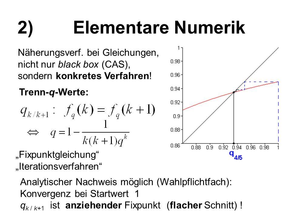 """2) Elementare Numerik Trenn-q-Werte: """"Fixpunktgleichung"""" """"Iterationsverfahren"""" Analytischer Nachweis möglich (Wahlpflichtfach): Konvergenz bei Startwe"""