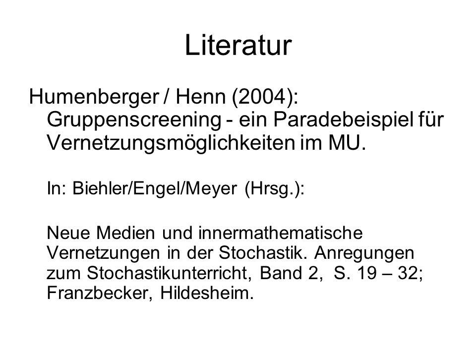 Literatur Humenberger / Henn (2004): Gruppenscreening - ein Paradebeispiel für Vernetzungsmöglichkeiten im MU. In: Biehler/Engel/Meyer (Hrsg.): Neue M