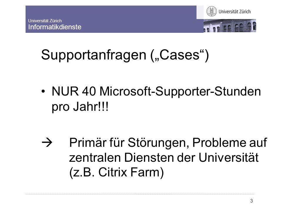 """Universität Zürich Informatikdienste 3 Supportanfragen (""""Case s"""") NUR 40 Microsoft-Supporter-Stunden pro Jahr!!!  Primär für Störungen, Probleme auf"""