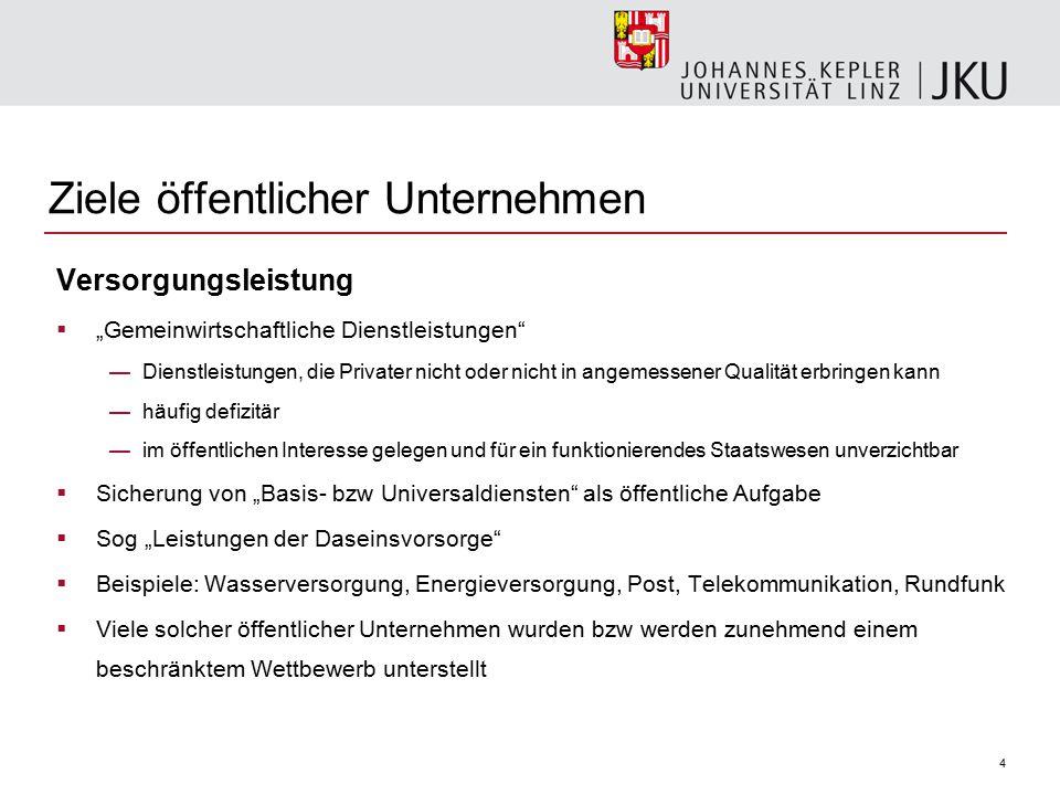 """4 Ziele öffentlicher Unternehmen Versorgungsleistung  """"Gemeinwirtschaftliche Dienstleistungen"""" —Dienstleistungen, die Privater nicht oder nicht in an"""