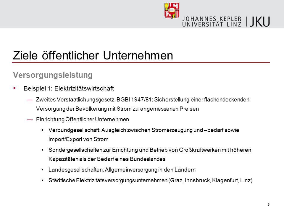 16 Ziele öffentlicher Unternehmen Wirtschaftspolitik  zB Verstaatlichungen nach dem 2.