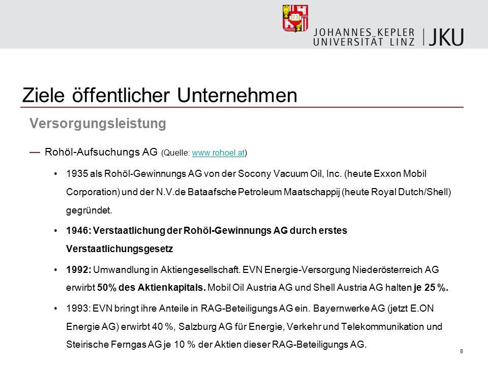 8 Ziele öffentlicher Unternehmen Versorgungsleistung —Rohöl-Aufsuchungs AG (Quelle: www.rohoel.at)www.rohoel.at 1935 als Rohöl-Gewinnungs AG von der S