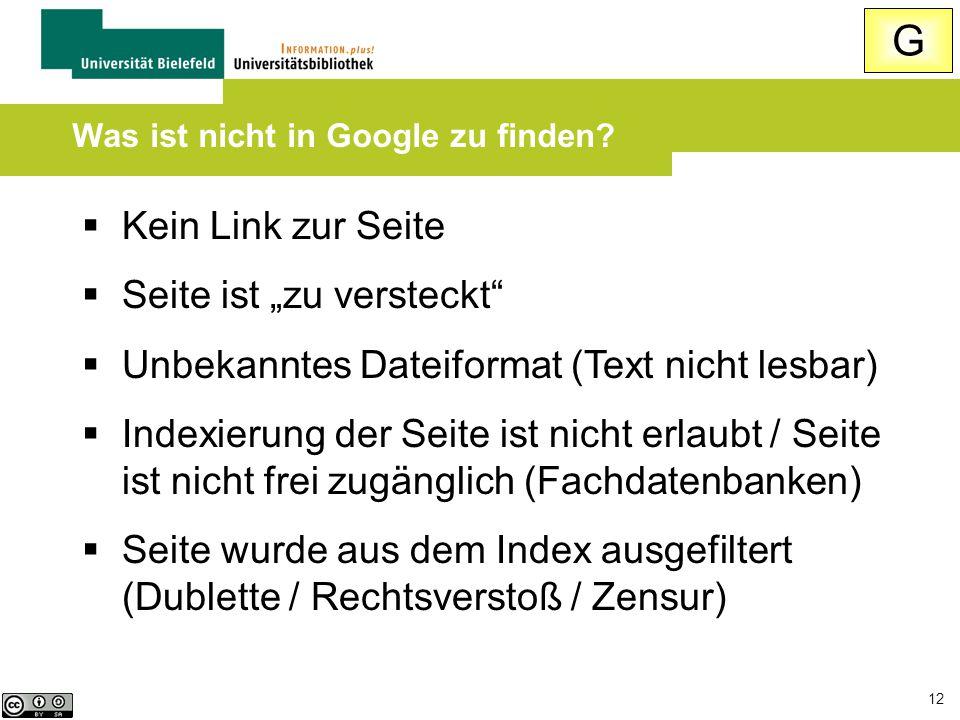 """12  Kein Link zur Seite  Seite ist """"zu versteckt""""  Unbekanntes Dateiformat (Text nicht lesbar)  Indexierung der Seite ist nicht erlaubt / Seite is"""