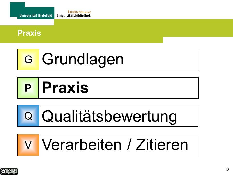 13 Grundlagen Praxis Qualitätsbewertung Verarbeiten / Zitieren Praxis G P Q V