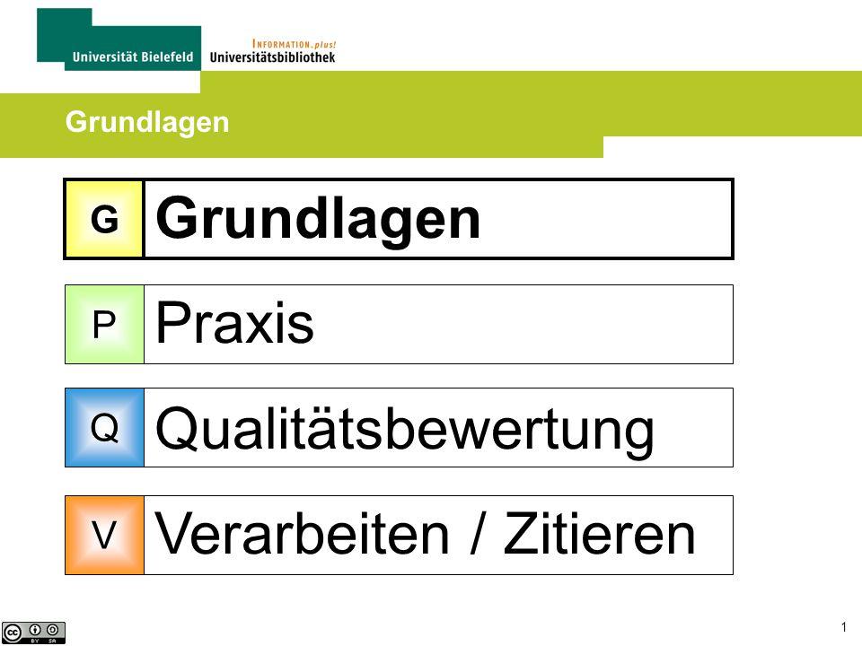 1 Grundlagen Praxis Qualitätsbewertung Verarbeiten / Zitieren Grundlagen G P Q V