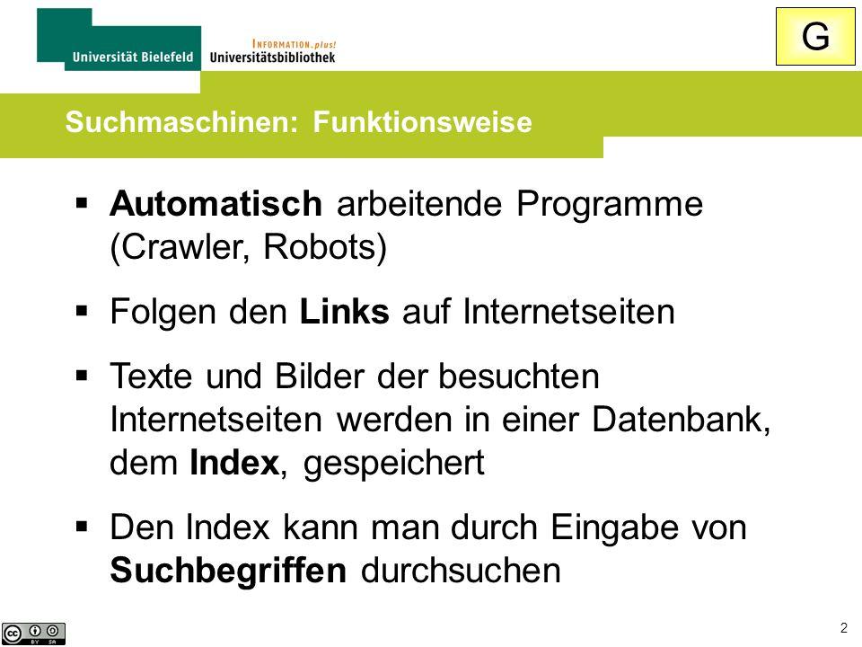 2  Automatisch arbeitende Programme (Crawler, Robots)  Folgen den Links auf Internetseiten  Texte und Bilder der besuchten Internetseiten werden in