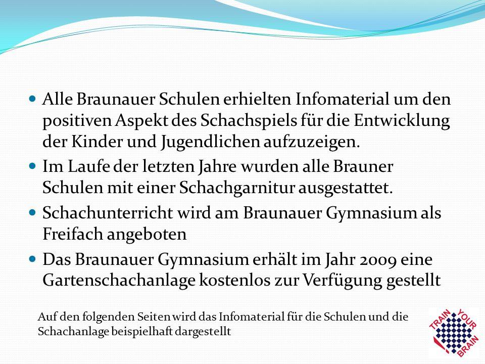 Alle Braunauer Schulen erhielten Infomaterial um den positiven Aspekt des Schachspiels für die Entwicklung der Kinder und Jugendlichen aufzuzeigen. Im