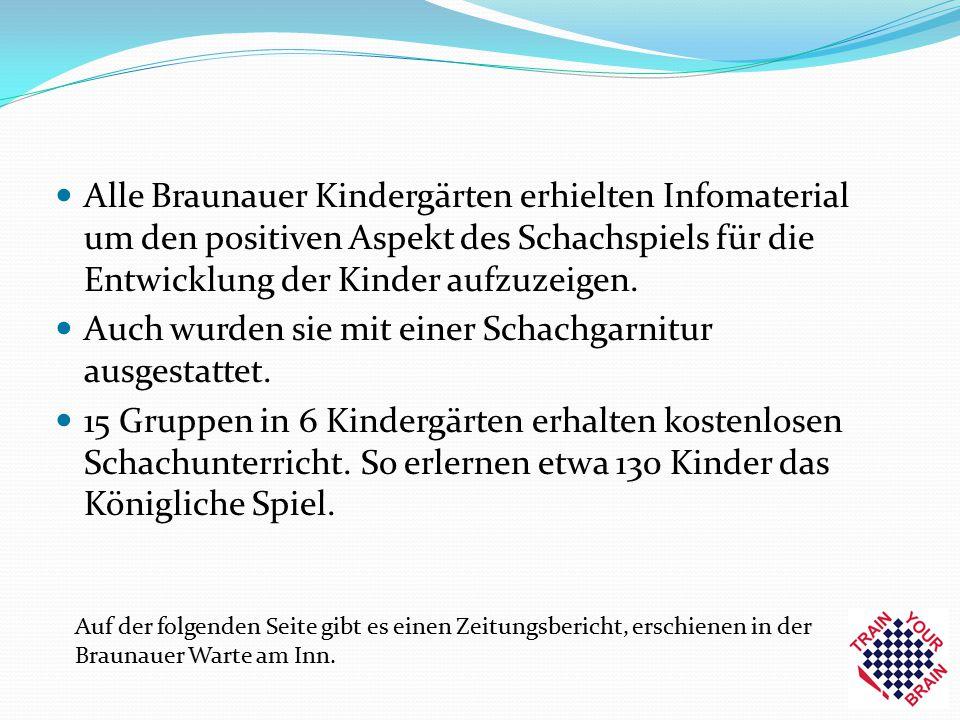 Alle Braunauer Kindergärten erhielten Infomaterial um den positiven Aspekt des Schachspiels für die Entwicklung der Kinder aufzuzeigen. Auch wurden si