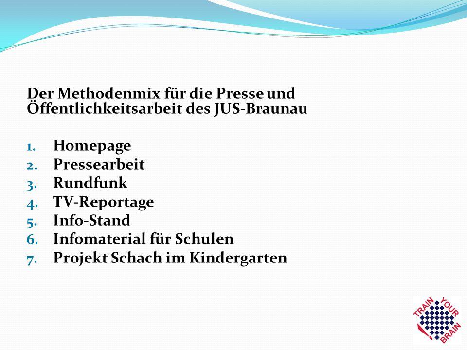 Der Methodenmix für die Presse und Öffentlichkeitsarbeit des JUS-Braunau 1. Homepage 2. Pressearbeit 3. Rundfunk 4. TV-Reportage 5. Info-Stand 6. Info