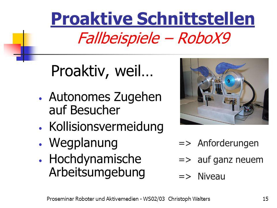 Proseminar Roboter und Aktivemedien - WS02/03 Christoph Walters15 Proaktive Schnittstellen Fallbeispiele – RoboX9 Proaktiv, weil… Autonomes Zugehen auf Besucher Kollisionsvermeidung Wegplanung Hochdynamische Arbeitsumgebung => Anforderungen => auf ganz neuem => Niveau
