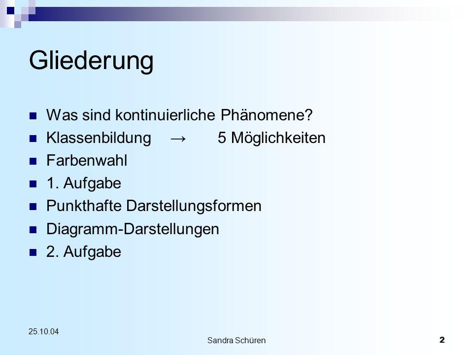 2 25.10.04 Gliederung Was sind kontinuierliche Phänomene? Klassenbildung→5 Möglichkeiten Farbenwahl 1. Aufgabe Punkthafte Darstellungsformen Diagramm-