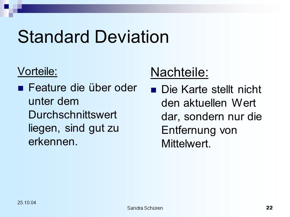 Sandra Schüren22 25.10.04 Standard Deviation Vorteile: Feature die über oder unter dem Durchschnittswert liegen, sind gut zu erkennen. Nachteile: Die