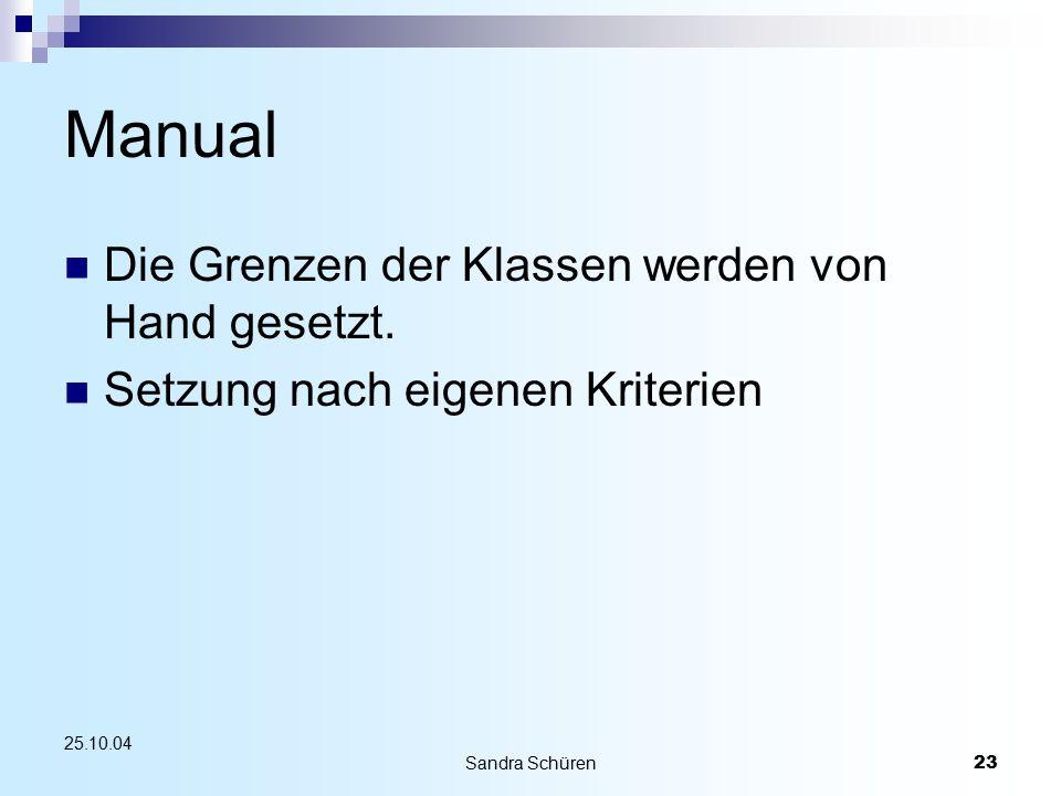 Sandra Schüren23 25.10.04 Manual Die Grenzen der Klassen werden von Hand gesetzt. Setzung nach eigenen Kriterien