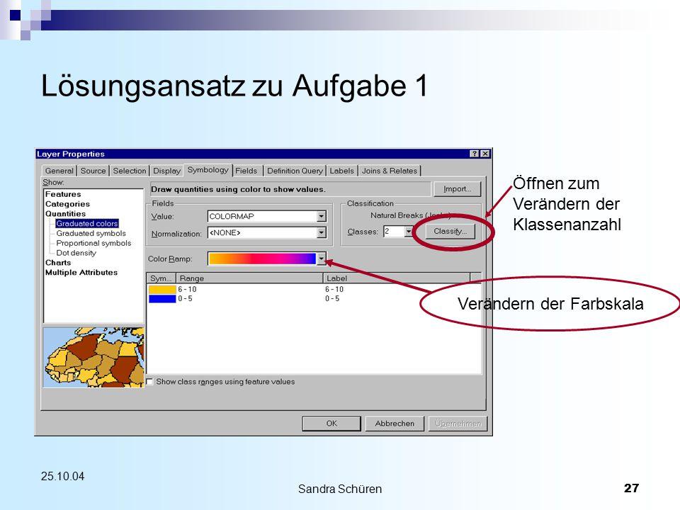 Sandra Schüren27 25.10.04 Lösungsansatz zu Aufgabe 1 Verändern der Farbskala Öffnen zum Verändern der Klassenanzahl
