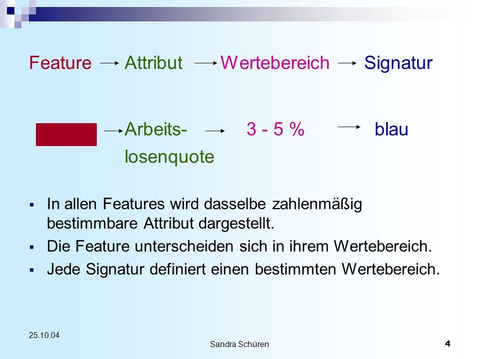 Sandra Schüren4 25.10.04 FeatureAttribut WertebereichSignatur Arbeits- 3 - 5 % blau losenquote  In allen Features wird dasselbe zahlenmäßig bestimmbare Attribut dargestellt.