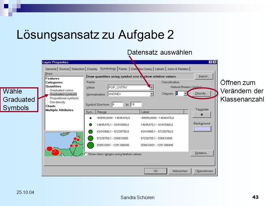 Sandra Schüren43 25.10.04 Lösungsansatz zu Aufgabe 2 Wähle Graduated Symbols Öffnen zum Verändern der Klassenanzahl Datensatz auswählen