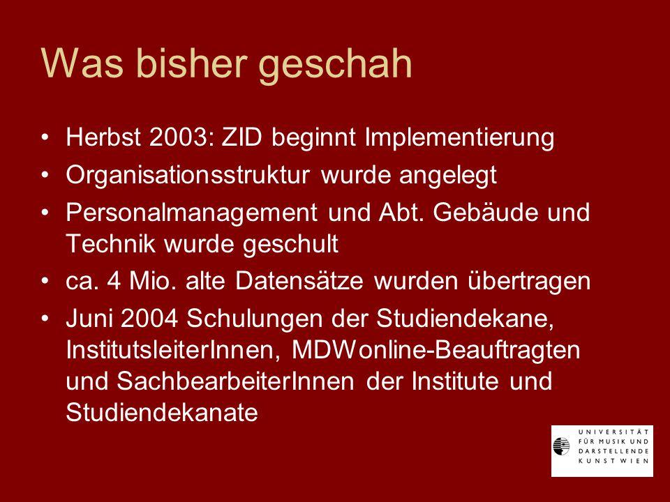 Was bisher geschah Herbst 2003: ZID beginnt Implementierung Organisationsstruktur wurde angelegt Personalmanagement und Abt.