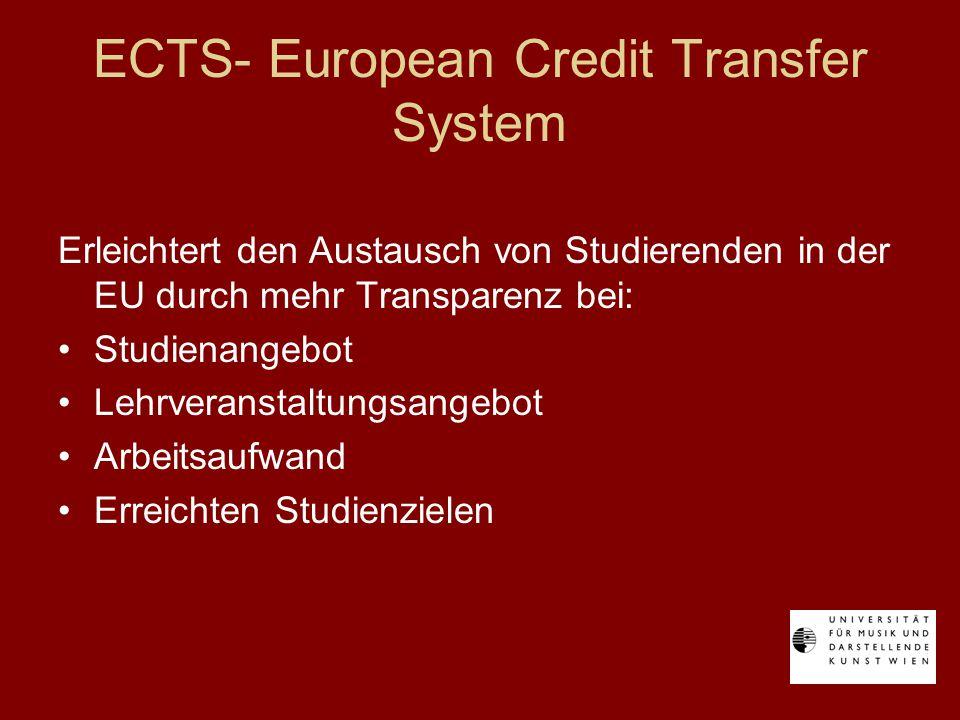 ECTS- European Credit Transfer System Erleichtert den Austausch von Studierenden in der EU durch mehr Transparenz bei: Studienangebot Lehrveranstaltungsangebot Arbeitsaufwand Erreichten Studienzielen