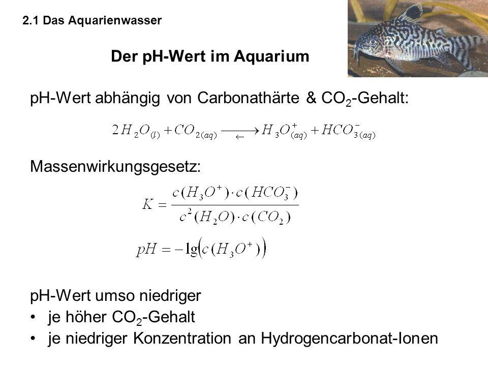 Der pH-Wert im Aquarium pH-Wert abhängig von Carbonathärte & CO 2 -Gehalt: Massenwirkungsgesetz: pH-Wert umso niedriger je höher CO 2 -Gehalt je niedr