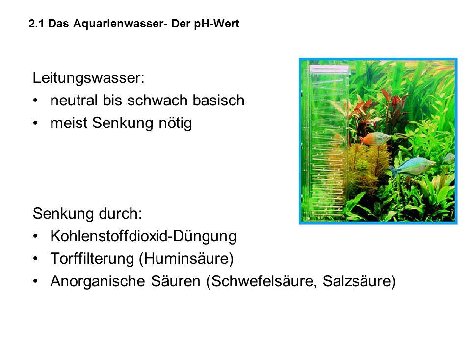 2.1 Das Aquarienwasser- Der pH-Wert Leitungswasser: neutral bis schwach basisch meist Senkung nötig Senkung durch: Kohlenstoffdioxid-Düngung Torffilte
