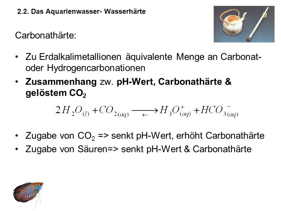 2.2. Das Aquarienwasser- Wasserhärte Carbonathärte: Zu Erdalkalimetallionen äquivalente Menge an Carbonat- oder Hydrogencarbonationen Zusammenhang zw.