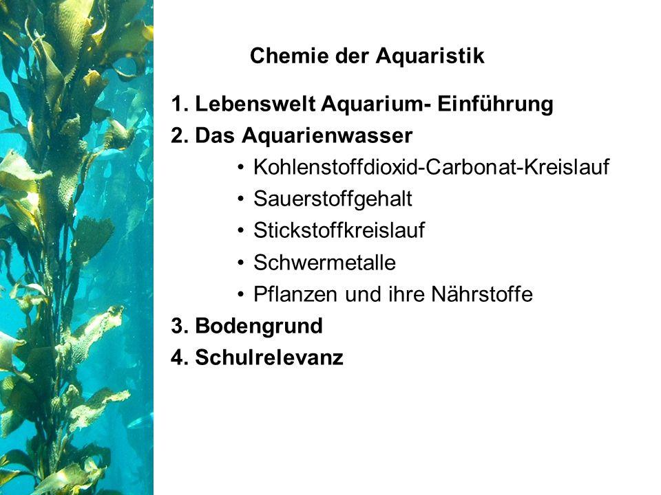 1. Lebenswelt Aquarium- Einführung 2. Das Aquarienwasser Kohlenstoffdioxid-Carbonat-Kreislauf Sauerstoffgehalt Stickstoffkreislauf Schwermetalle Pflan