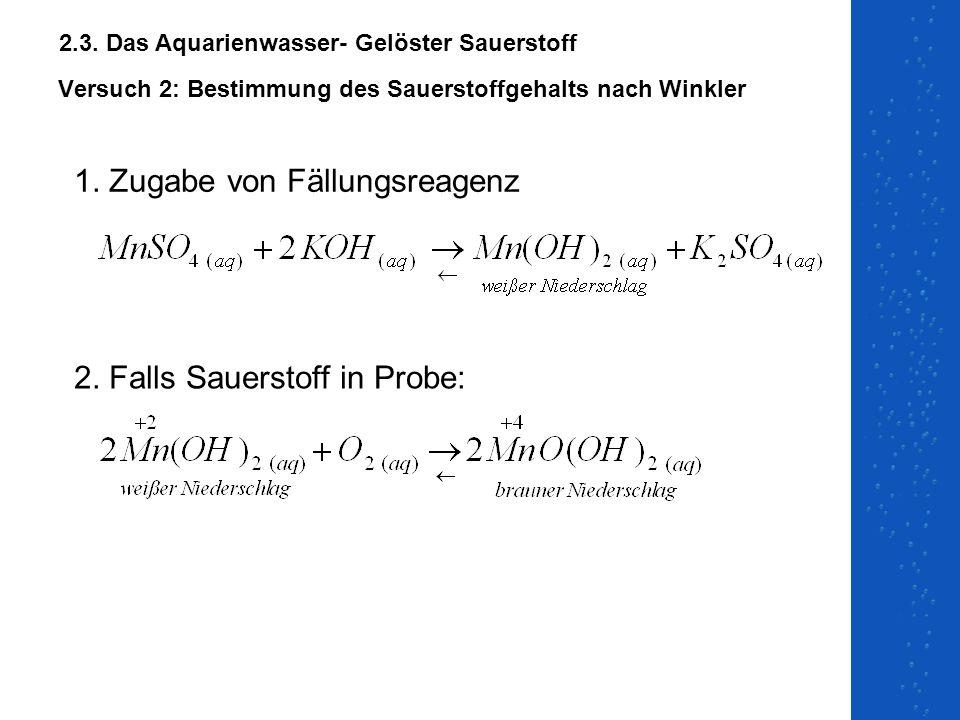 Versuch 2: Bestimmung des Sauerstoffgehalts nach Winkler 1. Zugabe von Fällungsreagenz 2. Falls Sauerstoff in Probe: 2.3. Das Aquarienwasser- Gelöster