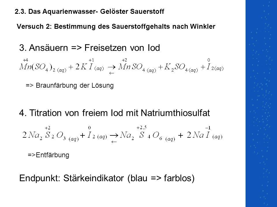 Versuch 2: Bestimmung des Sauerstoffgehalts nach Winkler 3. Ansäuern => Freisetzen von Iod 4. Titration von freiem Iod mit Natriumthiosulfat Endpunkt: