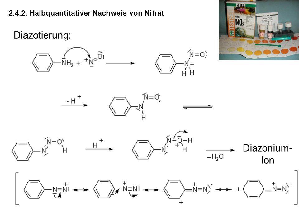 2.4.2. Halbquantitativer Nachweis von Nitrat Diazotierung: Diazonium- Ion