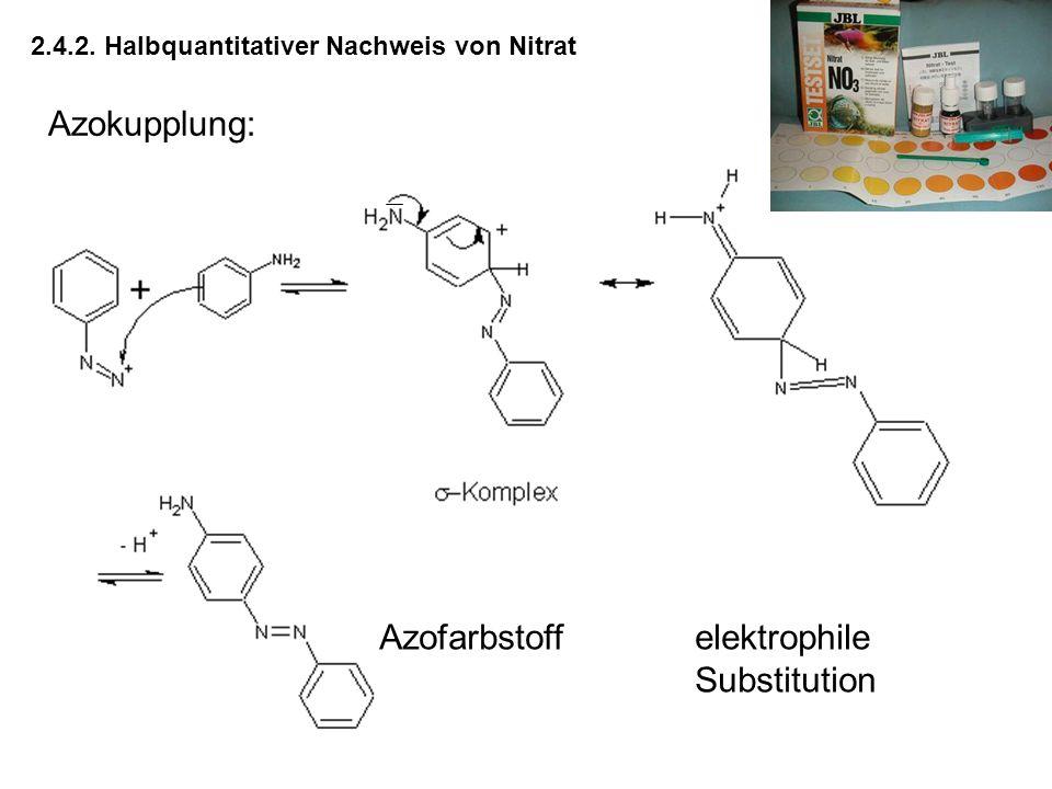 2.4.2. Halbquantitativer Nachweis von Nitrat Azokupplung: Azofarbstoffelektrophile Substitution