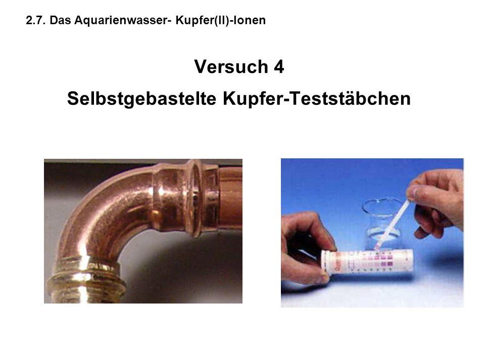 Versuch 4 Selbstgebastelte Kupfer-Teststäbchen 2.7. Das Aquarienwasser- Kupfer(II)-Ionen