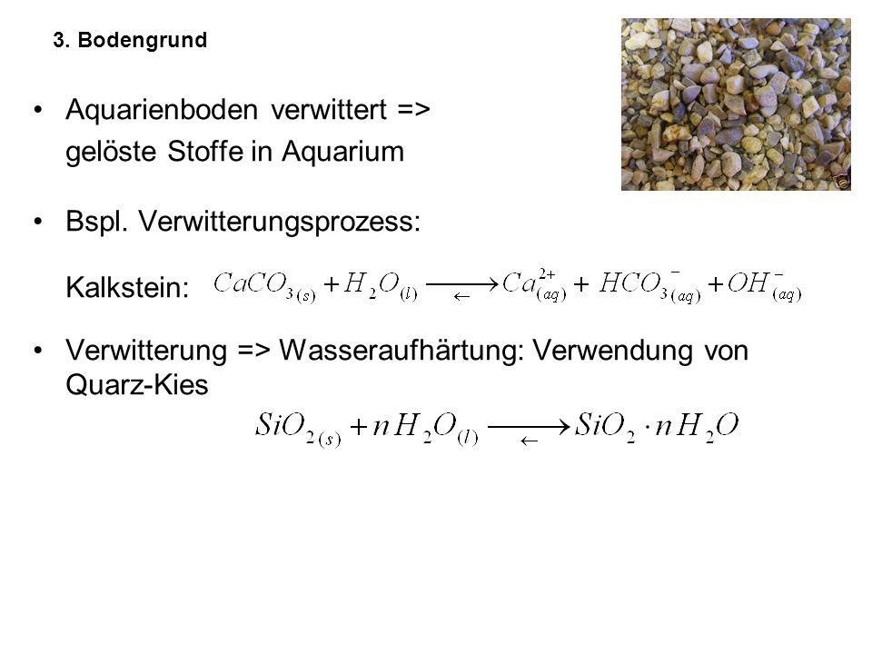 3. Bodengrund Aquarienboden verwittert => gelöste Stoffe in Aquarium Bspl. Verwitterungsprozess: Kalkstein: Verwitterung => Wasseraufhärtung: Verwendu