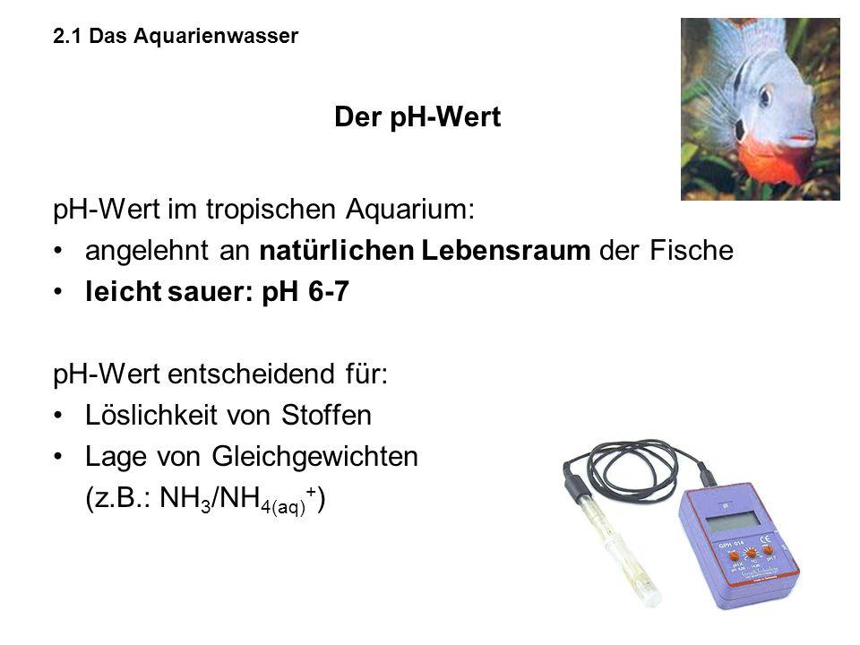 Der pH-Wert pH-Wert im tropischen Aquarium: angelehnt an natürlichen Lebensraum der Fische leicht sauer: pH 6-7 pH-Wert entscheidend für: Löslichkeit