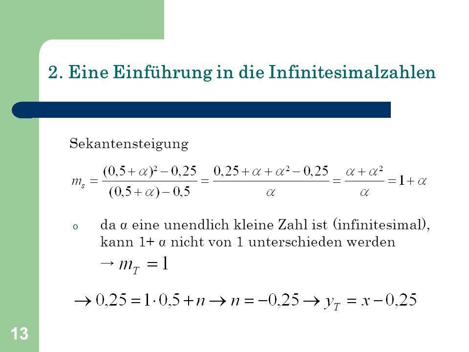 13 2. Eine Einführung in die Infinitesimalzahlen Sekantensteigung o da  eine unendlich kleine Zahl ist (infinitesimal), kann 1+  nicht von 1 untersc