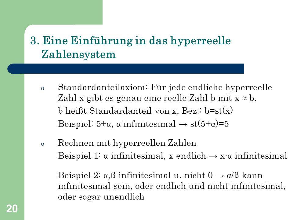 20 3. Eine Einführung in das hyperreelle Zahlensystem o Standardanteilaxiom: Für jede endliche hyperreelle Zahl x gibt es genau eine reelle Zahl b mit