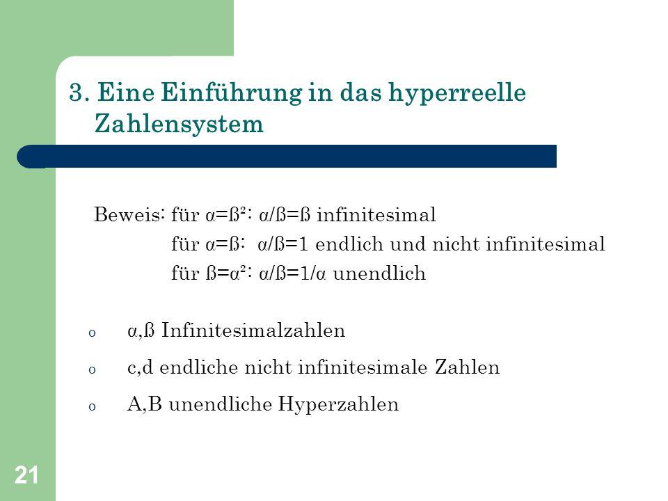 21 3. Eine Einführung in das hyperreelle Zahlensystem Beweis: für =ß²: /ß=ß infinitesimal für =ß: /ß=1 endlich und nicht infinitesimal für ß=²: 