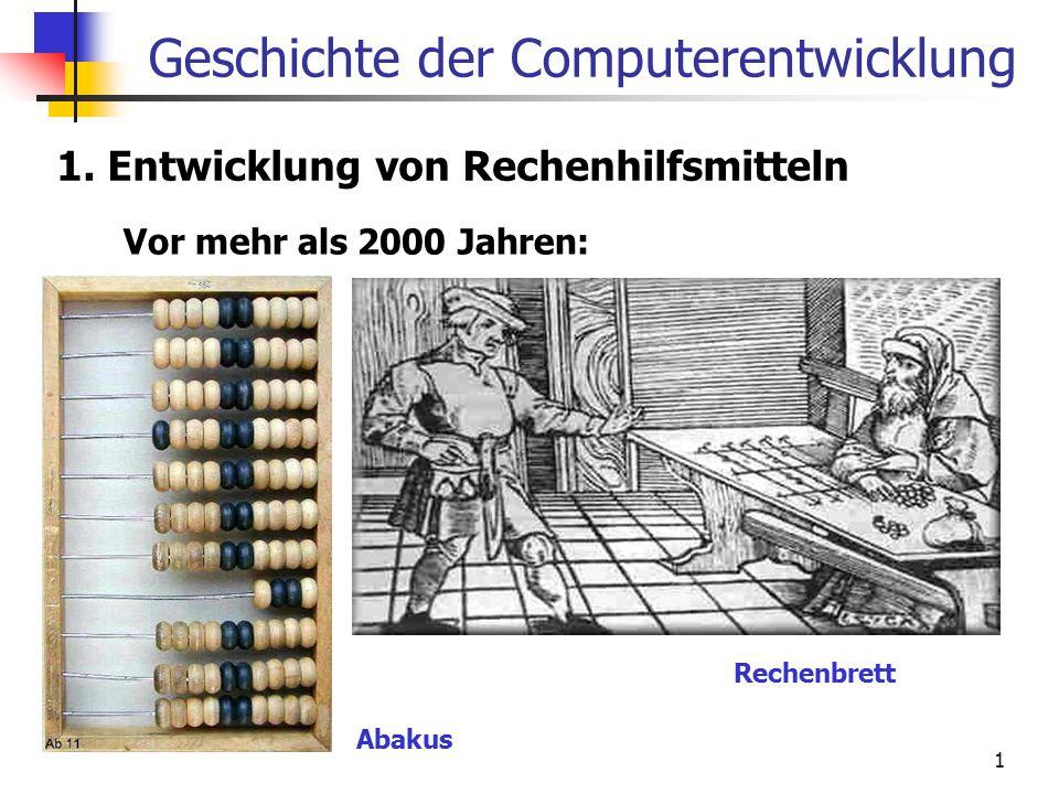 1 Geschichte der Computerentwicklung 1. Entwicklung von Rechenhilfsmitteln Vor mehr als 2000 Jahren: Abakus Rechenbrett