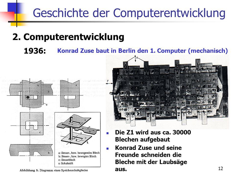 12 Geschichte der Computerentwicklung 2. Computerentwicklung 1936: Konrad Zuse baut in Berlin den 1. Computer (mechanisch) Die Z1 wird aus ca. 30000 B