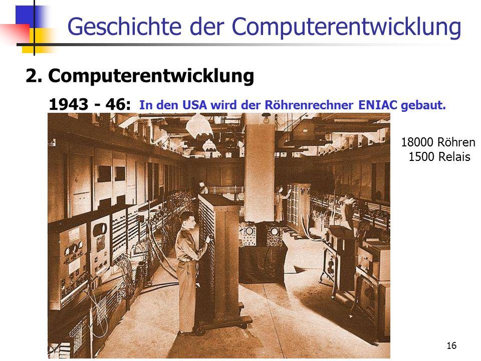 16 Geschichte der Computerentwicklung 2. Computerentwicklung 1943 - 46: In den USA wird der Röhrenrechner ENIAC gebaut. 18000 Röhren 1500 Relais