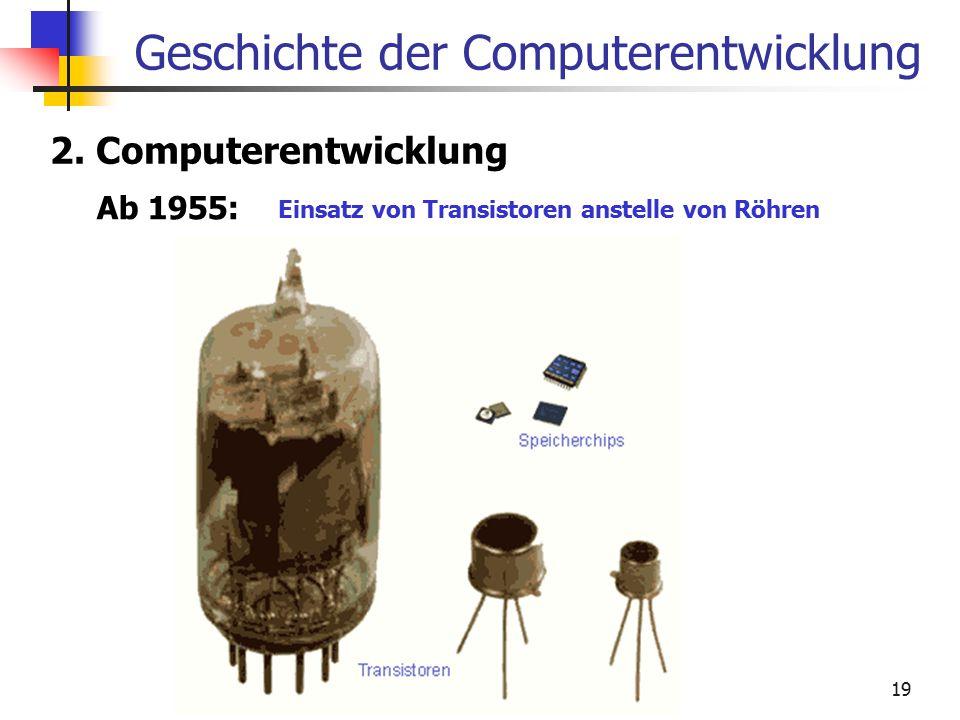 19 Geschichte der Computerentwicklung 2. Computerentwicklung Ab 1955: Einsatz von Transistoren anstelle von Röhren