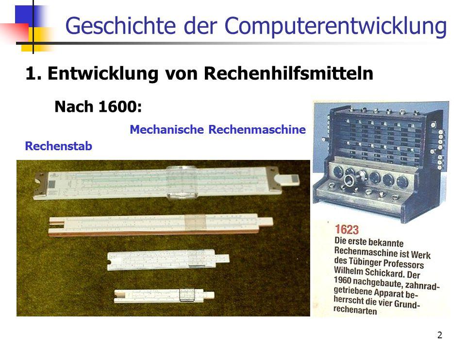 2 Geschichte der Computerentwicklung 1. Entwicklung von Rechenhilfsmitteln Nach 1600: Rechenstab Mechanische Rechenmaschine